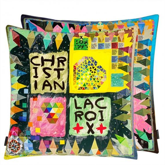 COUSSIN ARLECCHINO WOOD MULTICOLORE 50 x 50 cm Christian Lacroix