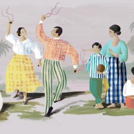 Papier peint panoramique paysage d'hommes et femmes Un beau dimanche de Elitis Collection 360°