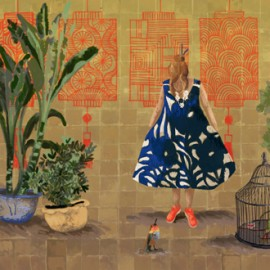 Papier peint panoramique paysage femmes Un conte fantastique de Elitis Collection 360°